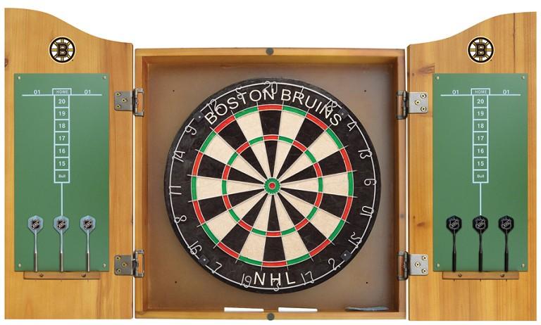 Boston Bruins NHL Dartboard Cabinet Set