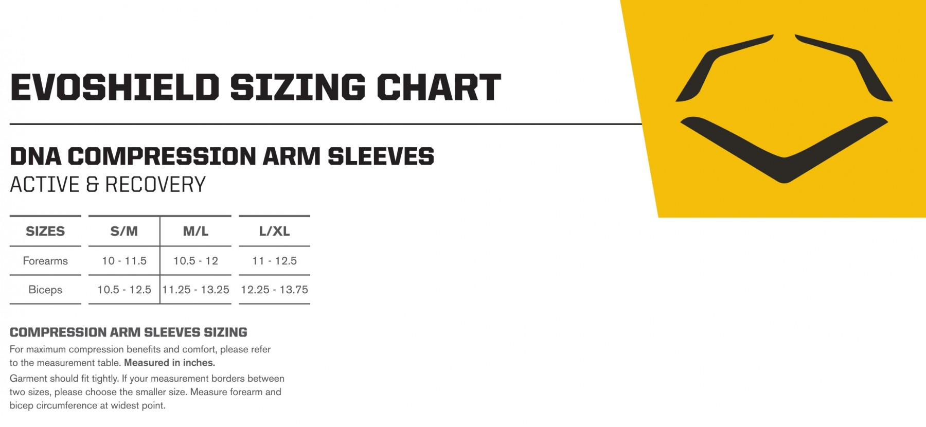 Image result for evoshield arm sleeve size chart