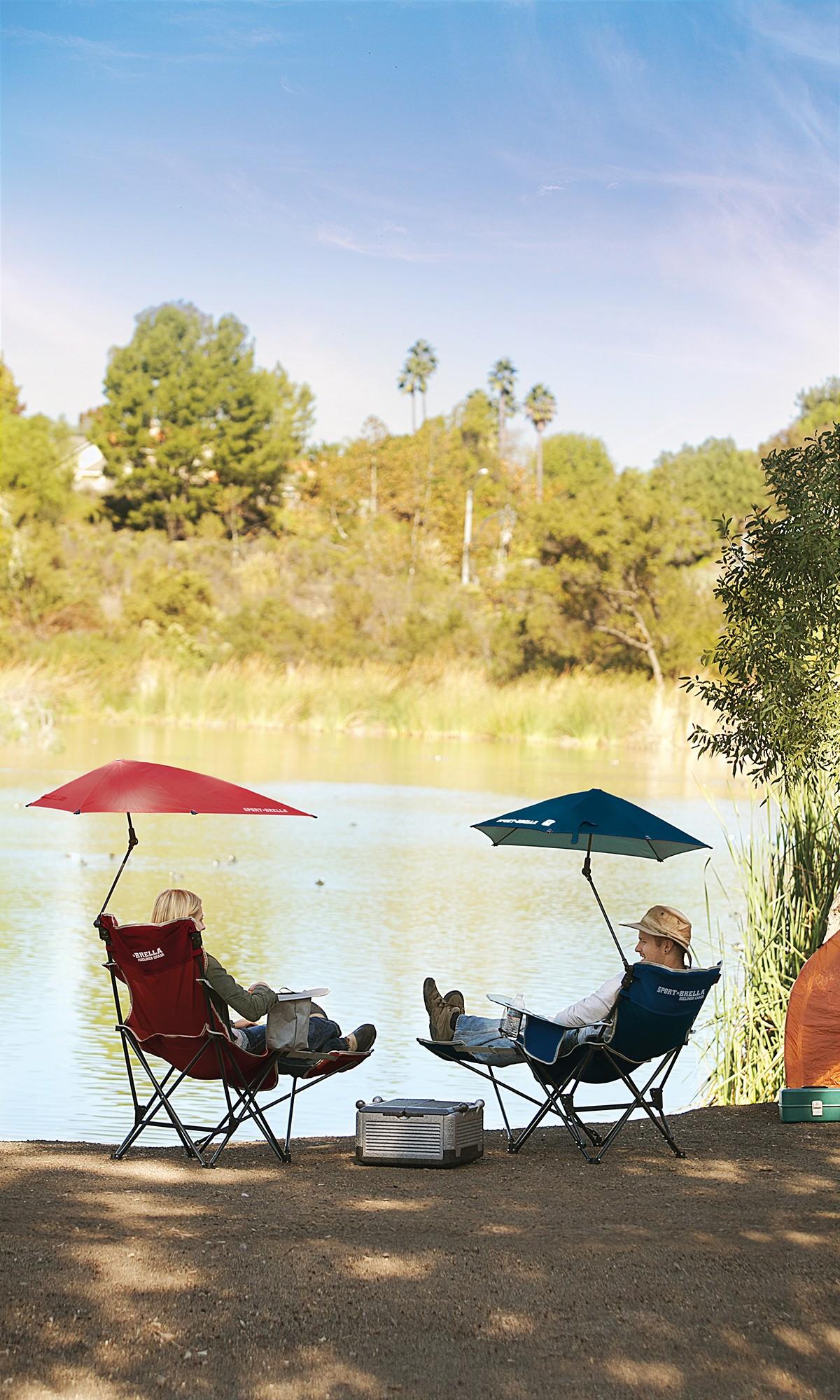 SKLZ Sport Brella Folding Recliner Chair w Umbrella & Footrest