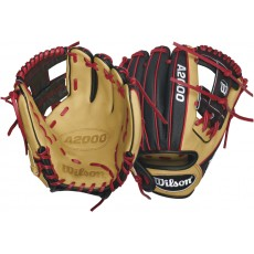 Wilson WTA20RB16DP15SS A2000 Super Skin Red Laced Baseball Glove, 11.5""