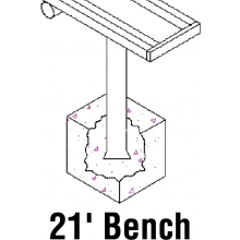 National Rec 21' PERMANENT Aluminum Team Player Bench