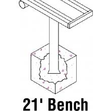 National Rec 21' PERMANENT Aluminum Team Player Bench