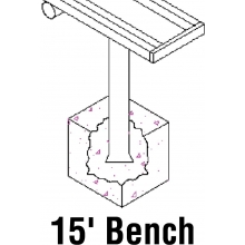 Aluminum Player Bench, PERMANENT, 15'