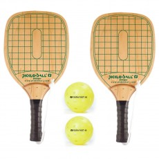 Swinger Wood Pickleball Paddles & Balls, pack of 2