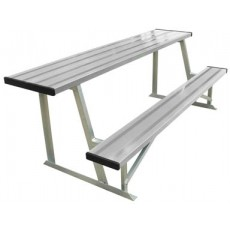7.5' Portable Outdoor Aluminum Scorer's Table & Bench, BEST08