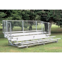 5 Row, 15' PREFERRED Aluminum Bleacher w/ Vertical Rail