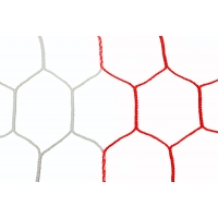 Jaypro SN-2 Two-Toned Official Soccer Nets, 8' x 24', HEX, 5mm (pr), WHITE/RED
