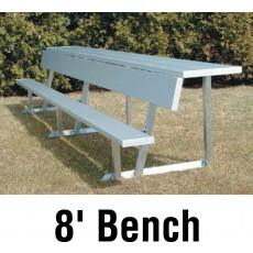 Aluminum Player Bench w/ Backrest and Shelf, PORTABLE, 8', Seats 5