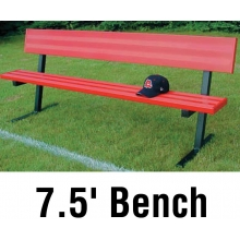 Jaypro Aluminum Player Bench, Powder Coated, w/ Backrest, PORTABLE, 7.5'