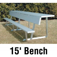 Aluminum Player Bench w/ Backrest and Shelf, PORTABLE, 15', Seats 10