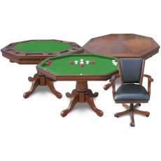 Carmelli Kingston 3-IN-1 Hardwood Poker / Bumper Pool Table w/ Chairs