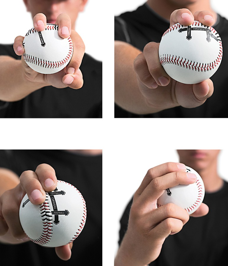 Change up, fastball, slider, curve ball (top right to bottom left)