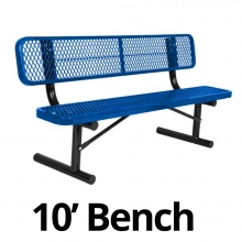 UltraPlay 10' Diamond Plastic Coated Portable Bench w/ Back