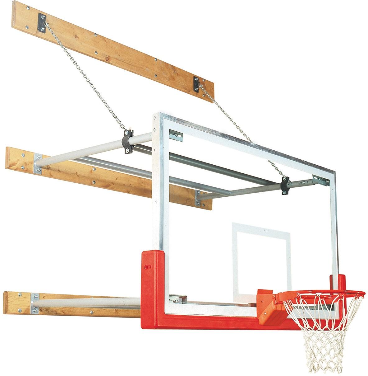 Bison Wall Mounted Basketball Hoop w/ Glass Backboard, 8'-12' EXTENSION - Bison Wall Mounted Basketball Hoop W/ Glass Backboard, 8'-12