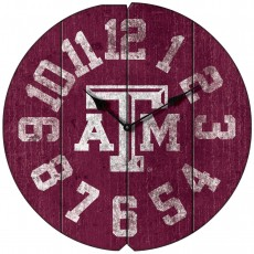 Vintage Round Clock, Texas A&M, Aggies