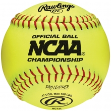 "Rawlings NC12L NCAA Championship 47/400 12"" Leather Fastpitch Softballs, dz"