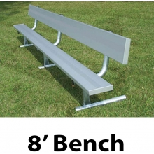 National Rec 8' PORTABLE Aluminum Team Player Bench w/ Backrest