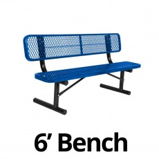 UltraPlay 6' Diamond Plastic Coated Portable Bench w/ Back