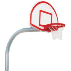 "Bison PR75 5-9/16"", Mega Pole Gooseneck Basketball Hoop w/ Fan Backboard"