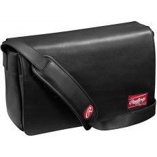 "Rawlings Black Leather Messenger Bag, 16""x10""x4.75"""