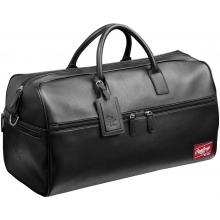 "Rawlings Black Leather Travel Duffle Bag, 21""x11""x10"""