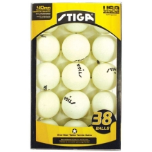 Stiga 1-Star Table Tennis Balls, White, 38-Pack