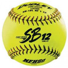 "Dudley  SB12L RFY FP 47/375 12"" Leather Fastpitch Softballs, dz"