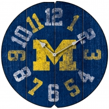 Vintage Round Clock, University of Michigan, Wolverines
