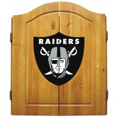 Oakland Raiders NFL Dartboard Cabinet Set