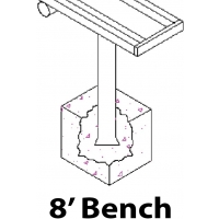 Aluminum Player Bench, PERMANENT, 8'