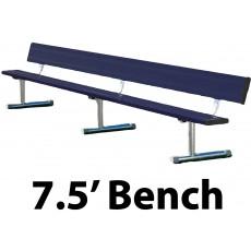 7.5' Portable Aluminum Powder Coated Player Bench w/ Backrest, BEPG08C