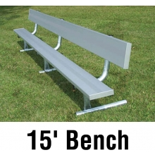 National Rec 15' PORTABLE Aluminum Team Player Bench w/ Backrest