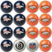Denver Broncos NFL Home vs Away Billiard Ball Set