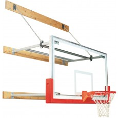 Bison Wall Mounted Basketball Hoop w/ Glass Backboard, 8'-12' EXTENSION