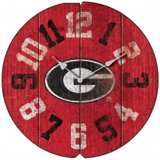 Vintage Round Clock, University of Georgia , Bulldogs