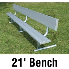 National Rec 21' PORTABLE Aluminum Team Player Bench, w/ Backrest