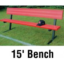 Jaypro 15' PORTABLE Player Bench, Powder Coated, w/ Backrest, PB-20PC