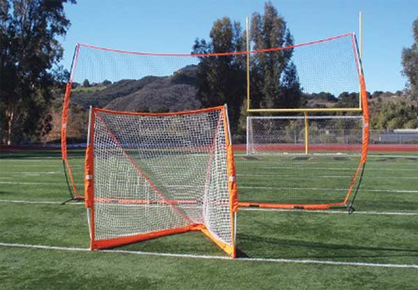 With lacrosse goal in front