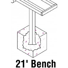 Jaypro 21' PERMANENT Aluminum Player Bench, PB-5PI