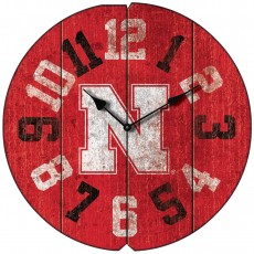 Vintage Round Clock, University of Nebraska, Cornhuskers