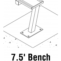 Jaypro PB-75SM Aluminum Player Bench, SURFACE MOUNT, 7.5'