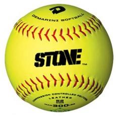 "DeMarini 12"", 52/300 Stone ASA Slowpitch Leather Softball, WTASTONEL12YAB"