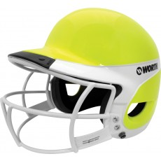 Worth WLBHA Liberty Away Optic Yellow Softball Batting Helmet w/ Faceguard