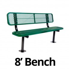 UltraPlay 8' Diamond Plastic Coated Surface Mount Bench w/ Back