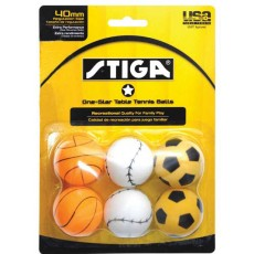 Stiga 1-Star Table Tennis Sport Balls, 6-Pack