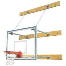 Bison Wall Mounted Basketball Hoop w/ Glass Backboard, 1'-4' EXTENSION
