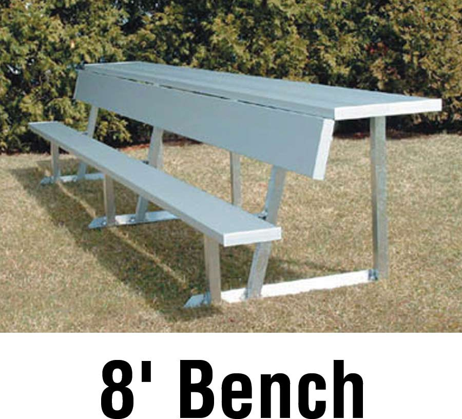 Aluminum Player Bench w/ Backrest and Shelf, PORTABLE, 8\', Seats 5
