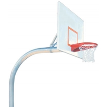 "Bison PR77 5-9/16"", Mega Pole Gooseneck Basketball Hoop w/ Rectangular Backboard"