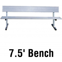 Jaypro PB-80 Aluminum Player Bench w/ Backrest, PORTABLE, 7.5'