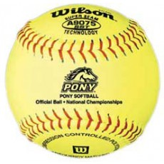 "Wilson A9075BSST 47/375 Pony Leather Fastpitch Softballs, 12"", dz"